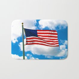 American Flag in Big Blue sky Bath Mat