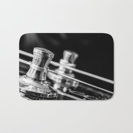 In Tune close up electric guitar tuning post and string Bath Mat