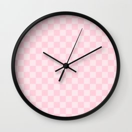 Large Soft Pastel Pink Checkerboard Chess Squares Wall Clock