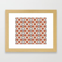 Orange, Brown, and Ivory Retro 1960s Circular Pattern Framed Art Print
