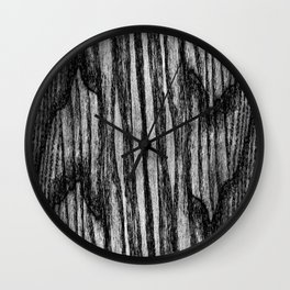 Wood texture in black and white Wall Clock
