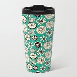 summer flowers teal Metal Travel Mug