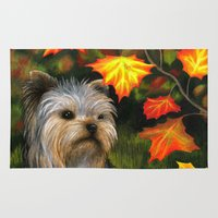 yorkie Area & Throw Rugs featuring Yorkie dog by ArtbyLucie