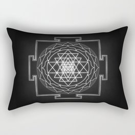 Sri Yantra XI - Black & White Rectangular Pillow