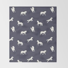 Horse Print (Navy Slate) Throw Blanket