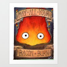 HOWL'S MOVING CASTLE illustration: CALCIFER Art Print