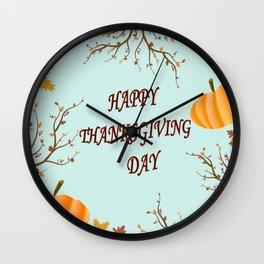 Happy Thanksgiving day postcard Wall Clock