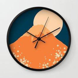 Japanese Mount Fuji Retro Pop Art Landscape Wall Clock