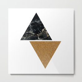 Dark marble and bronze geo Metal Print