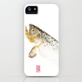 Brown Trout - Gyotaku iPhone Case