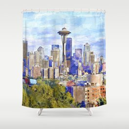 Seattle View In Watercolor Shower Curtain