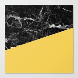 Black Marble and Primrose Yellow Color Canvas Print