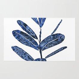 indigo ficus leaf watercolor Rug
