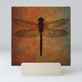 Dragonfly On Orange and Green Background Mini Art Print