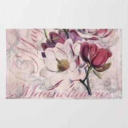Vintage Magnolia flower illustration Rug
