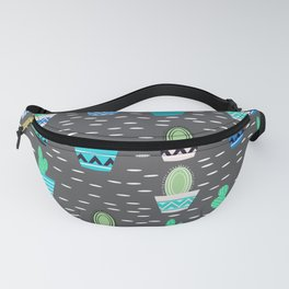 Potted cacti on a gray background Fanny Pack