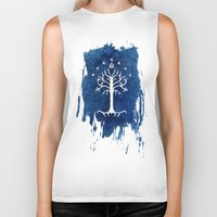 lotr Biker Tanks featuring The White Tree by Jackie Sullivan