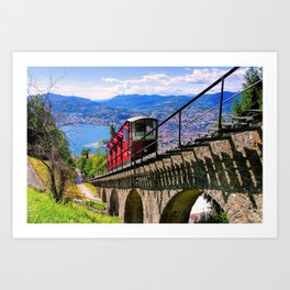 Lugano, Switzerland Funicular - Cable Car Lakeside photograph Art Print