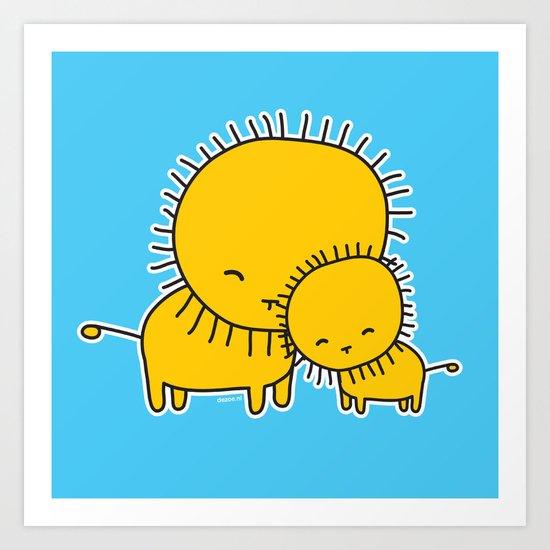 Lion Hug Art Print