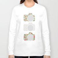 polka dot Long Sleeve T-shirts featuring Floral & Polka Dot Cameras by Allyson Johnson