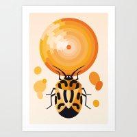Harlequin Stink Bug & Ranunculus Art Print
