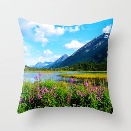 God's Country - Summer in Alaska Throw Pillow