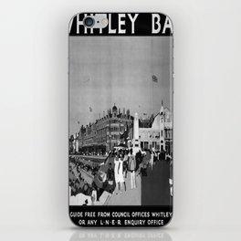 retro b/w Whitley Bay travel poster iPhone Skin
