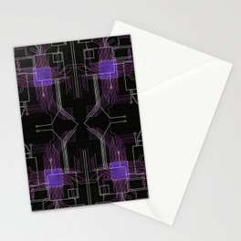 Circuit board purple repeat Stationery Cards