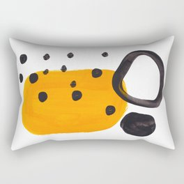 Mid Century Abstract Black & Yellow Fun Pattern Funky Playful Juvenile Shapes Polka Dots Rectangular Pillow