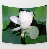 lotus flower Wall Tapestries featuring Lotus. by Assiyam