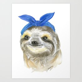 Sloth with a Blue Scarf Watercolor Art Print