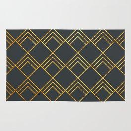 Diamond Art Deco; - Black & Gold Rug