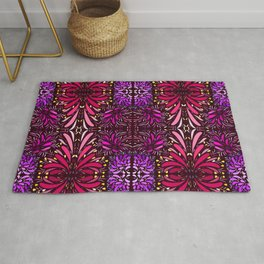 aboriginal style - flowers and leaves 1 pattern Rug