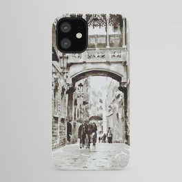 Carrer del Bisbe - Barcelona Black and White iPhone Case