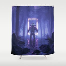Lost In The Neon Jungle Shower Curtain