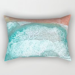 The Break - Turquoise Sea Pastel Pink Beach III Rectangular Pillow