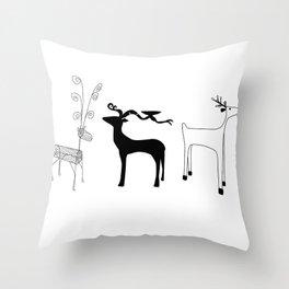 Three Reindeer Version 2 Throw Pillow