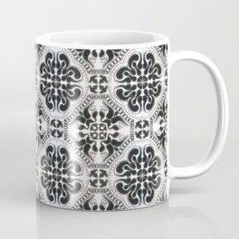 Portuguese Tiles Azulejos Black White Pattern Coffee Mug