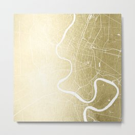 Bangkok Thailand Minimal Street Map - Gold Metallic and White Metal Print