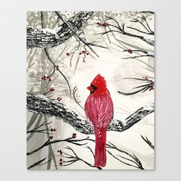 Red Robins Winter Canvas Print