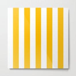 Fluorescent orange - solid color - white vertical lines pattern Metal Print