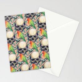 Skulls and lovebirds Stationery Cards
