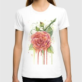Red Rose Dripping Watercolor Flower T-shirt