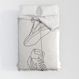 Sneakers simple minimal one line art, hanging shoes branded shoes  Comforters