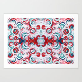 Happy Swirls in Red and Teal Art Print