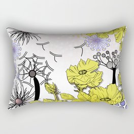 Dandelion blown against the wind in spring Rectangular Pillow