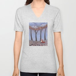 fox and chickadees Unisex V-Neck