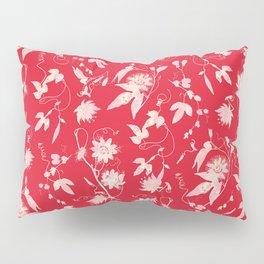 Festive Christmas Bright Red Passion Flowers Pillow Sham