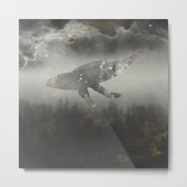 Dream Space - Surreal Image with A Whale Metal Print