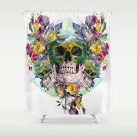 skulls Shower Curtains featuring SKULLS by RIZA PEKER